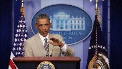 Photo of Obama's Tan Suit Media Firestorm Anniversary: August 28, 2014